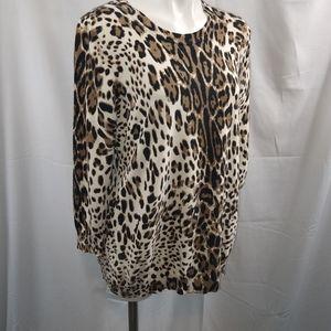 Cato Cheetah Print Knit Sweater Sz XL